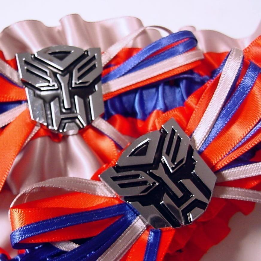 Wedding - Wedding garter set  Transformer Autobot blue red and Silver wedding garters