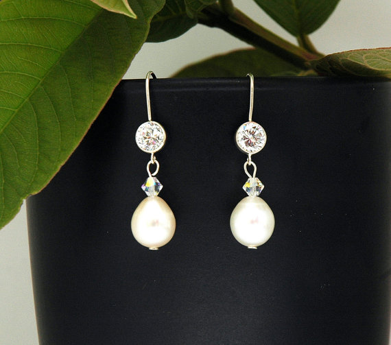 Mariage - Bridal Earrings Pearl, CZ Wedding Earrings, Cubic Zirconia Earrings, Dangle Sterling Silver, Swarovski Earrings, Bridal Accessories