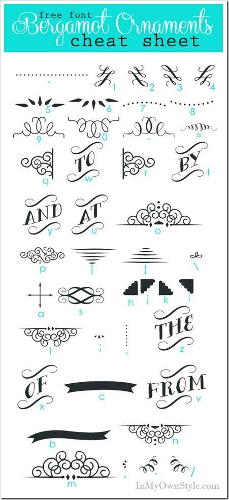 Hochzeit - Font Cheat Sheets: Bergamot Ornaments Character Map