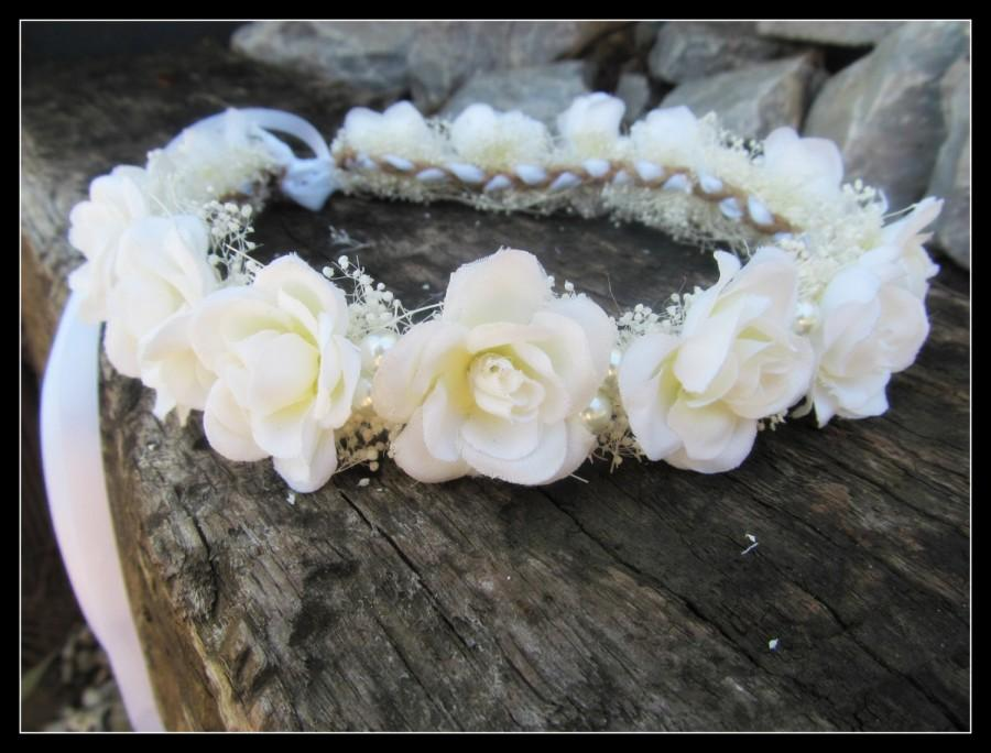 White Rose Crown, Wedding Crown, Rose Flower Crown, Bridal Crown ...