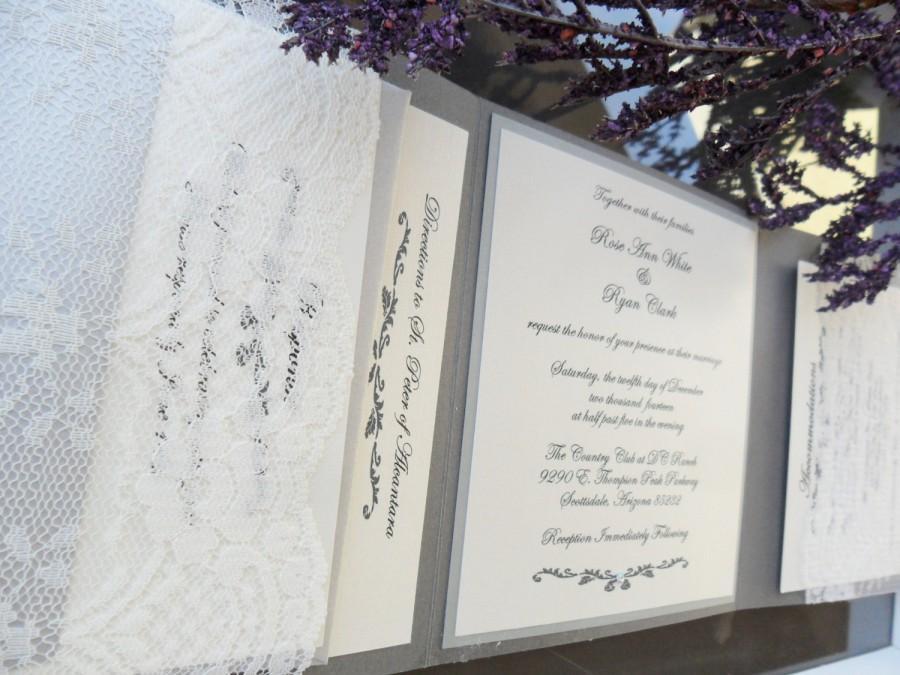 زفاف - Tri-fold Pocket Invitation in Gray/Ivory/Silver - RSVP, Reception and Information Card Included
