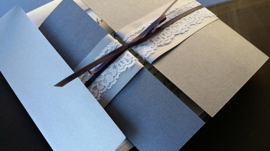 Свадьба - Charcoal and Silver - Rustic Chic Lace Wedding Invitation Pocketfold