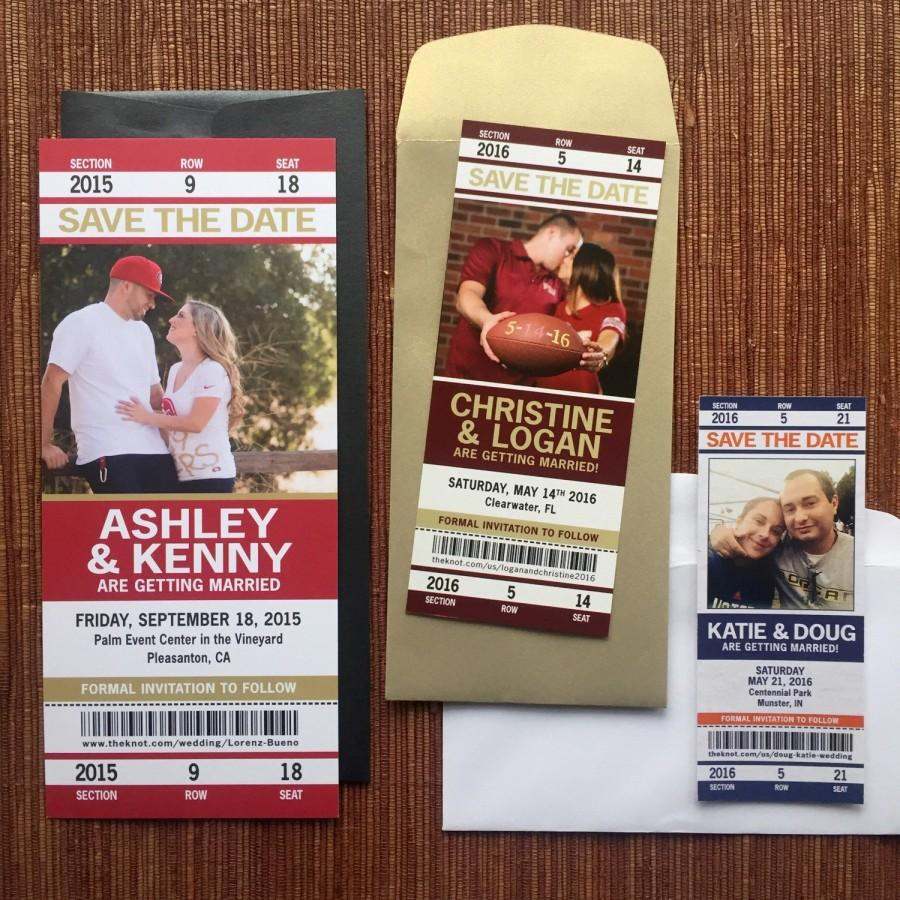 sport ticket wedding save the date or invitation football