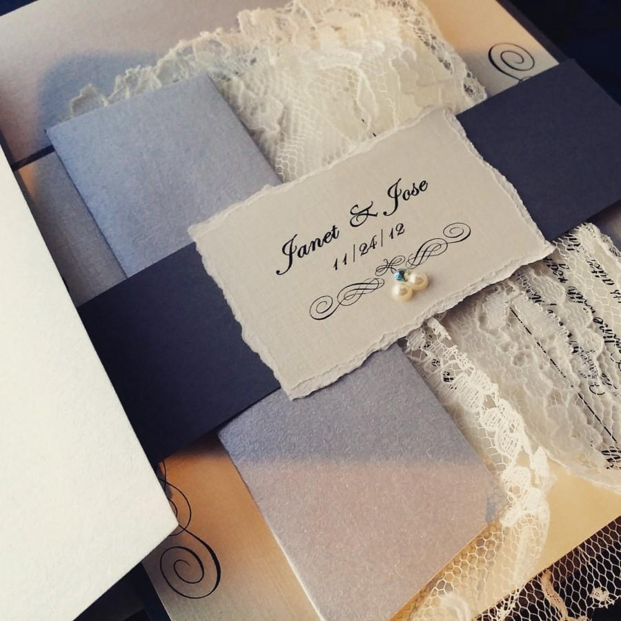 Wedding - Deckeled edge Monogram and lace Wedding Invitation Suite - Gray / Silver / Ivory