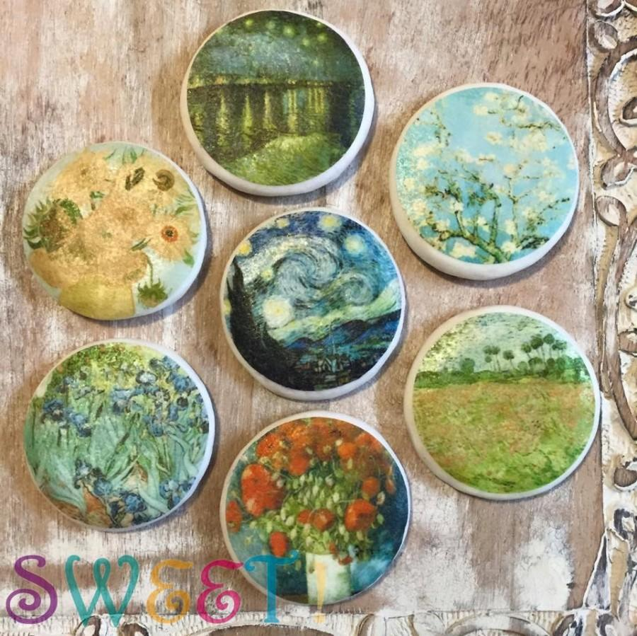 """Mariage - Edible 2.5"""" Round Van Gogh Cupcake & Cookie Toppers - Wafer Paper or Frosting Sheet"""