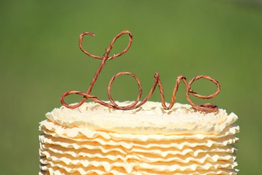 rustic wire love wedding cake toppers decoration beach wedding bridal shower bride and groom rustic country chic wedding