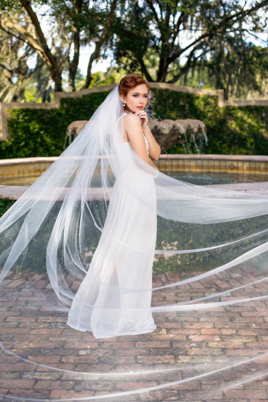 Wedding Bride Veil wedding veil cathedral 112 bride with 180 swarovski crystal rhinestones scattered throughout skylar