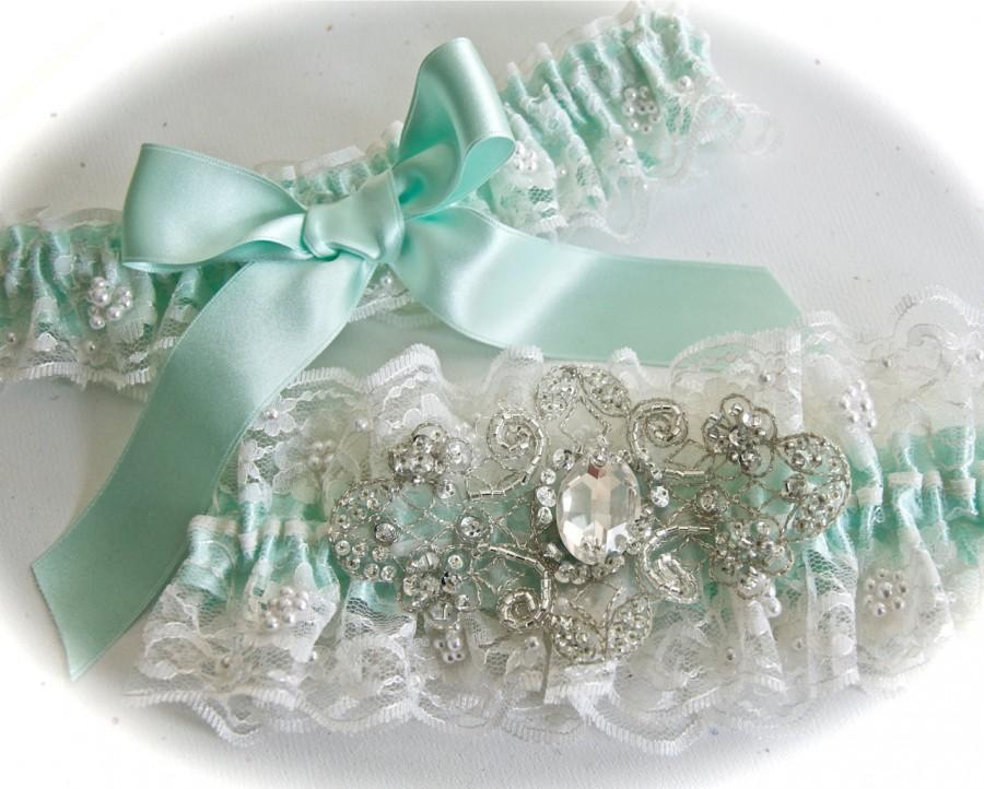 Mariage - Wedding  Garter Set in Beaded Chantilly Bridal Garter Set Lace with Aqua Shadow Ribbon and Crystal Centering