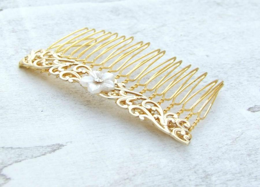 Wedding - Vintage Style Hair Comb, Gold Hair Piece, Vintage Style Hair Comb, Wedding Hair Comb, Hair Accessories, Pearl Hair Comb
