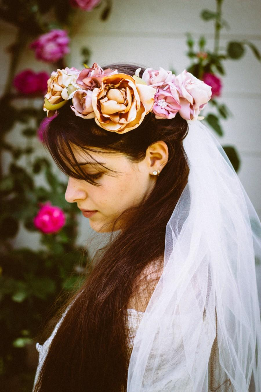 Bridal veil bridal flower crown bridal crown bridal halorose bridal veil bridal flower crown bridal crown bridal halorose flower crownbridal hair piece flower girl crown boho veilwoodland veil izmirmasajfo