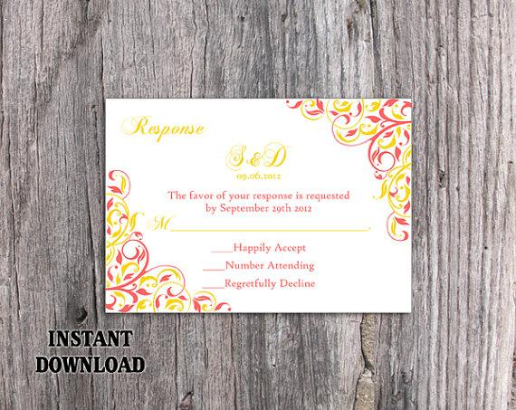Свадьба - DIY Wedding RSVP Template Editable Word File Download Rsvp Template Printable Coral RSVP Card Pink Yellow Rsvp Template Elegant Rsvp Card