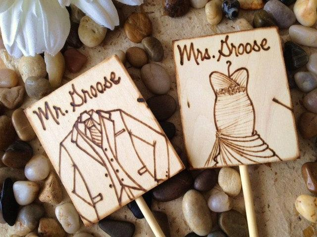 Wedding - Personalized Wedding Cake Toppers Custom Made with YOUR Wedding Gown and HIS Tuxedo