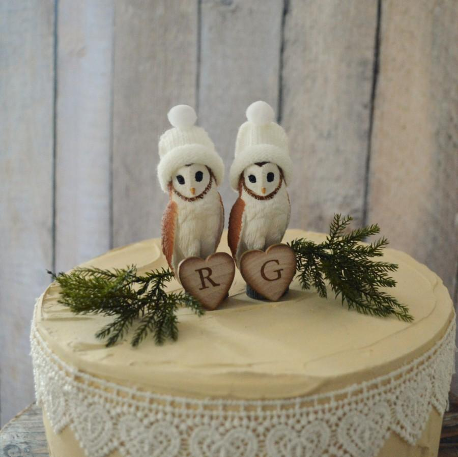 Rustic Owl Wedding Cake Topper: Barn Owl Wedding Cake Topper Bride Groom Personalized