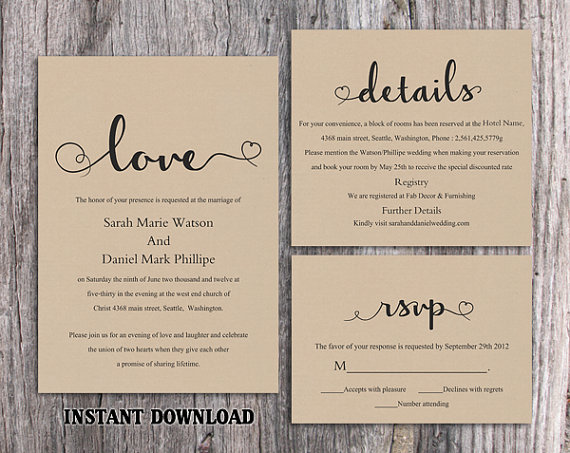 Diy Burlap Wedding Invitation Template Set Editable Word File Printable Rustic Heart Elegant Invite