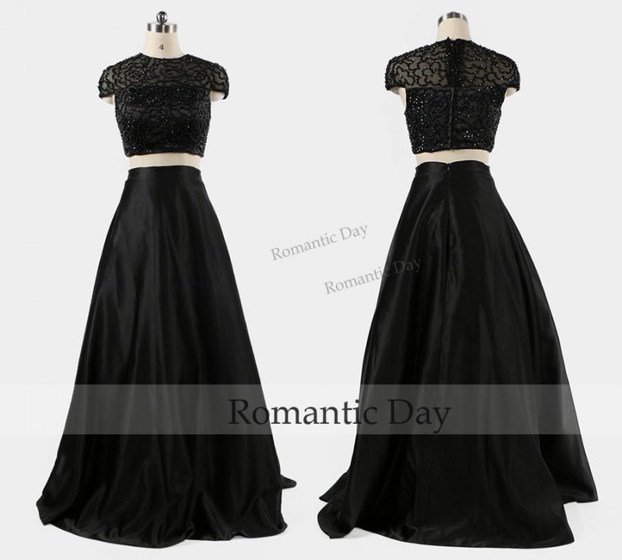Wedding - Elegant Cap Sleeves Beads Bodice Black Two Pieces Evening Dress/Black Two Pieces Prom Dress/Custom Made 0473