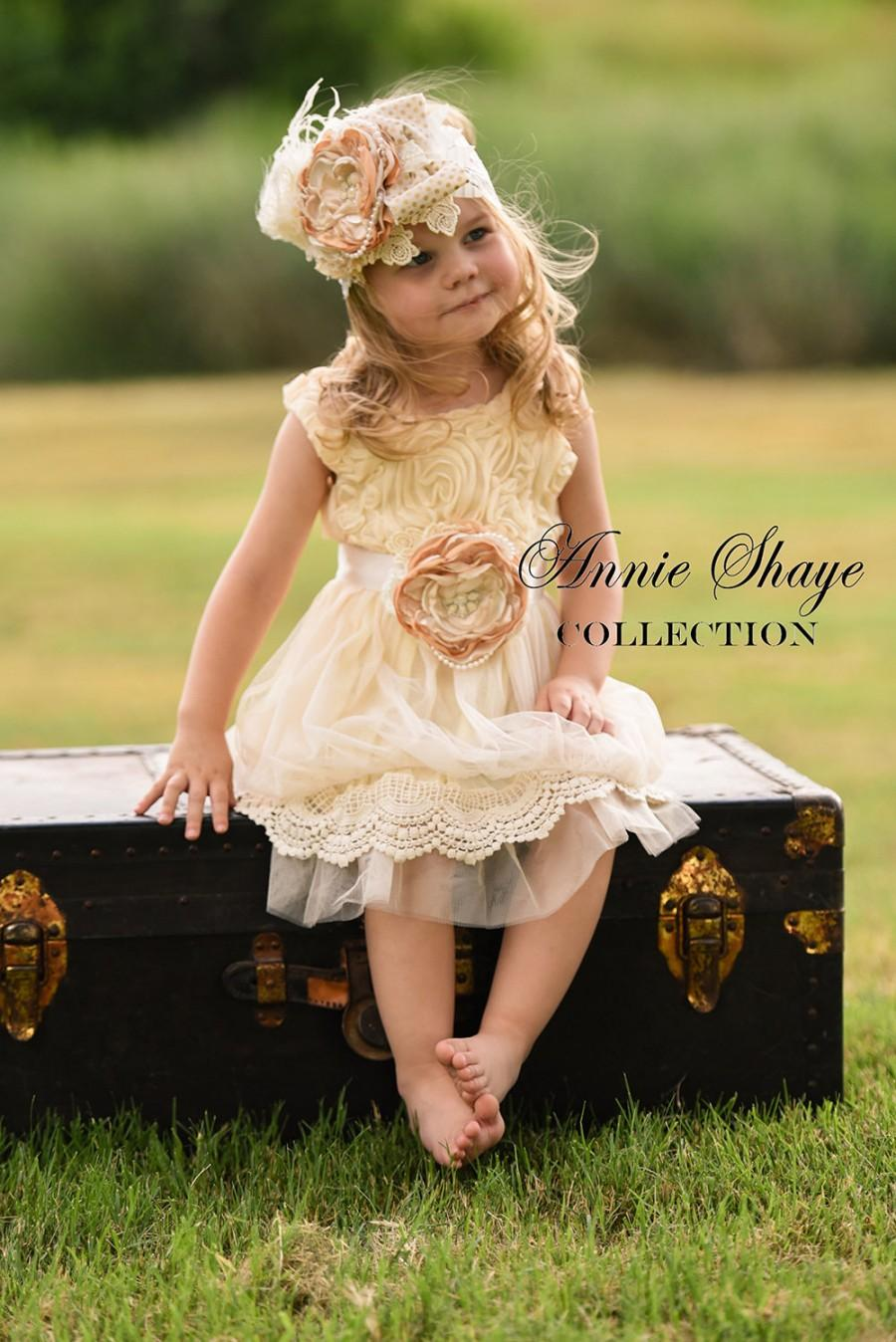 Mariage - The Sophie by Annie Shaye Collection - Antique Cream Flower Girl Dress, Girls Lace Dress, Lace, Tulle Flower Girl Dress, Lace Toddler Dress