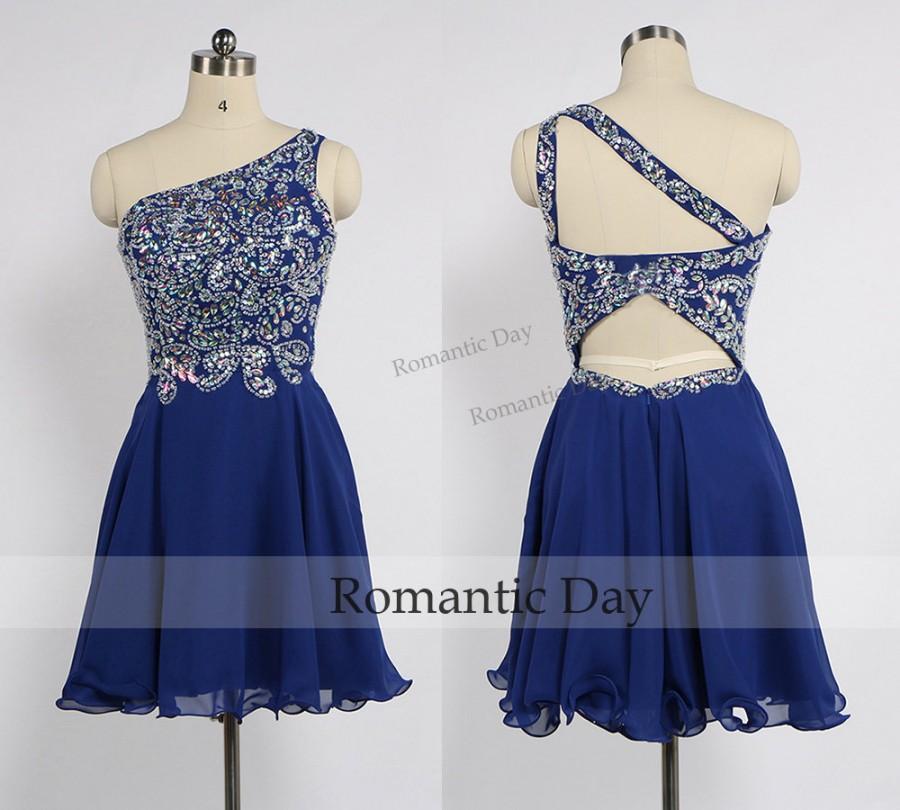 One Shoulder Short Dress with Rhinestones