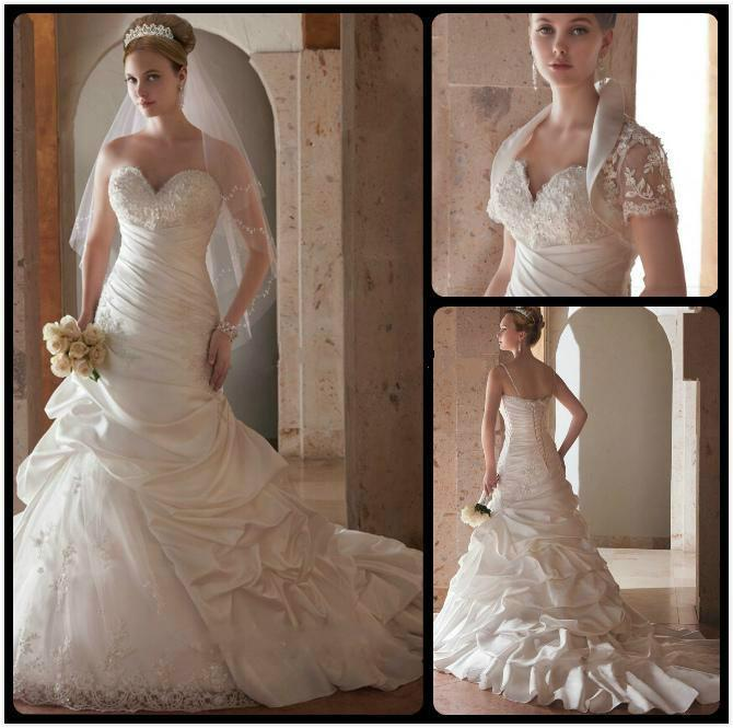 Wedding - Exquisite Mermaid Wedding Dresses With Wrap 2016 Taffeta Draped Beads Fitted Applique 2016 Chapel Train Lace Bridal Dresses Gowns Online with $116.24/Piece on Hjklp88's Store