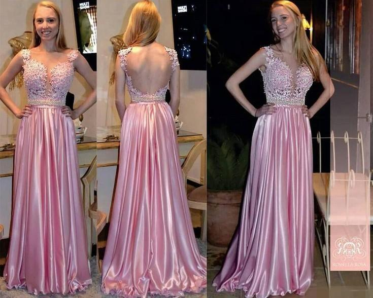 Stunning backless evening dresses prom sheer beads applique pink a