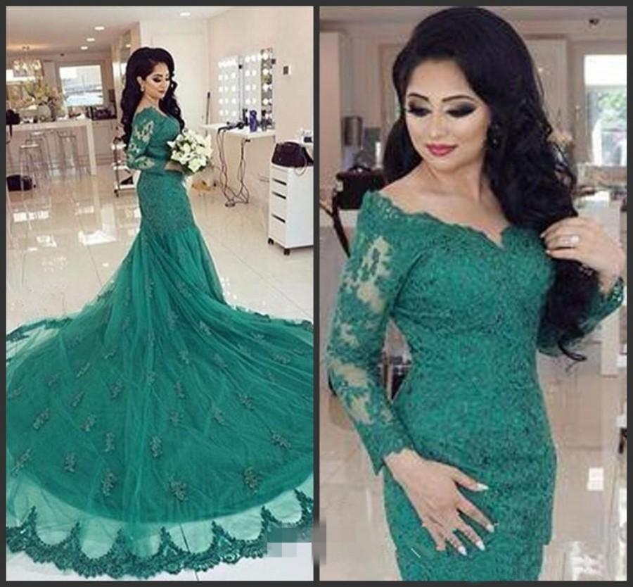 Designer Arabic Turquoise 2016 Green Mermaid Evening Dresses Long ...