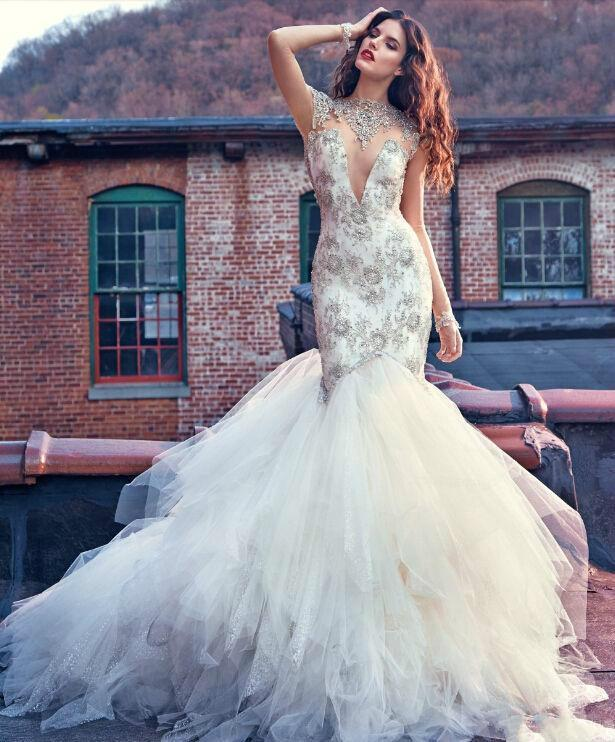 Y Galia Lahav Beads Sheer Mermaid Wedding Dresses Bling Sequins Backless Lique Lace 2016 Bridal Gowns Chapel Train Tulle Online With 119 38 Piece On