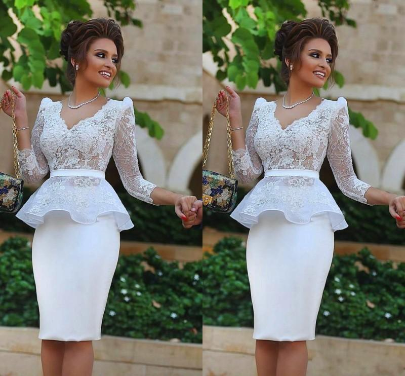 White Short Party Dresses with Sleeves