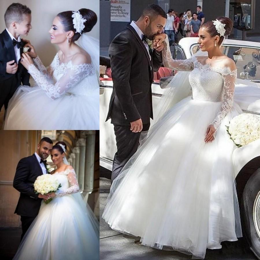 4690e17437a06 Stunning Plus Size Long Sleeve Wedding Dresses Mermaid Applique Lace Tulle  Cheap 2016 Bridal Gowns Sweep Train Off Shoulder Online with $109.17/Piece  on ...
