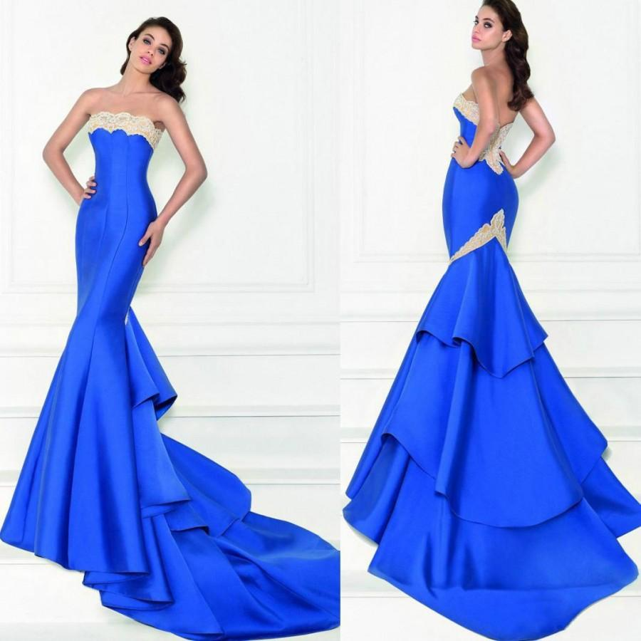 574adeb93ca Bright Blue Tarik Ediz Lace Evening Dresses Mermaid Cheap Chapel Train  Satin Strapless Simple Long Prom Dresses Party Formal Gowns Online with   101.31 Piece ...