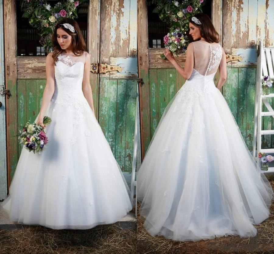 Vintage white plus size wedding dresses sheer illusion for Plus size illusion wedding dress