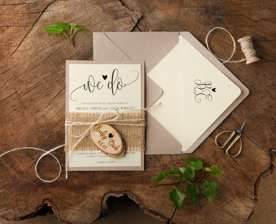 rustic wedding invitation suite 20 country wedding invitations burlap wedding invitation set wood engraved invitation we do invitation - Burlap Wedding Invitations