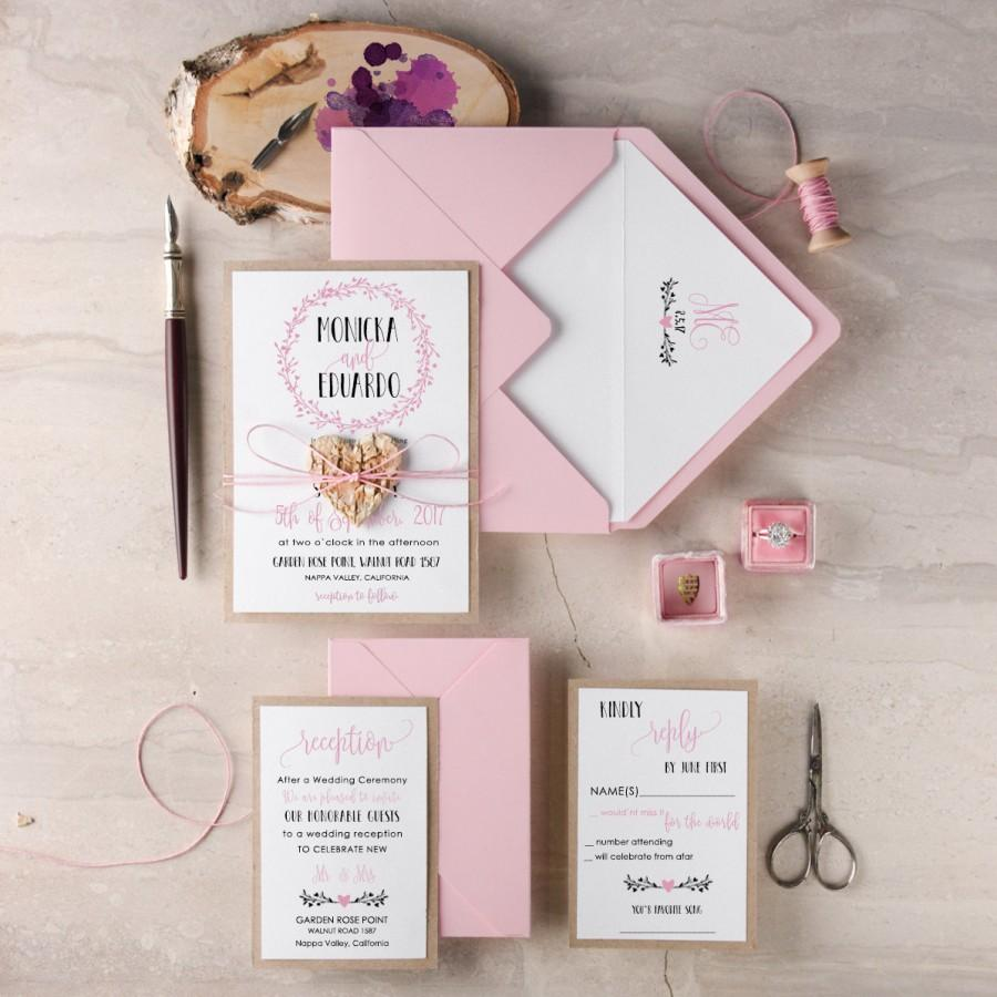 Wreath Wedding Invitation Suite 20 Rustic Set Pink Invitations Wooden Heart Invites Blush