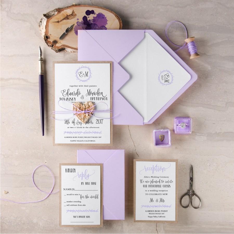 purple wedding invitation suite 20 rustic wedding invitation set pink wedding invitations wooden heart invites blush invitations