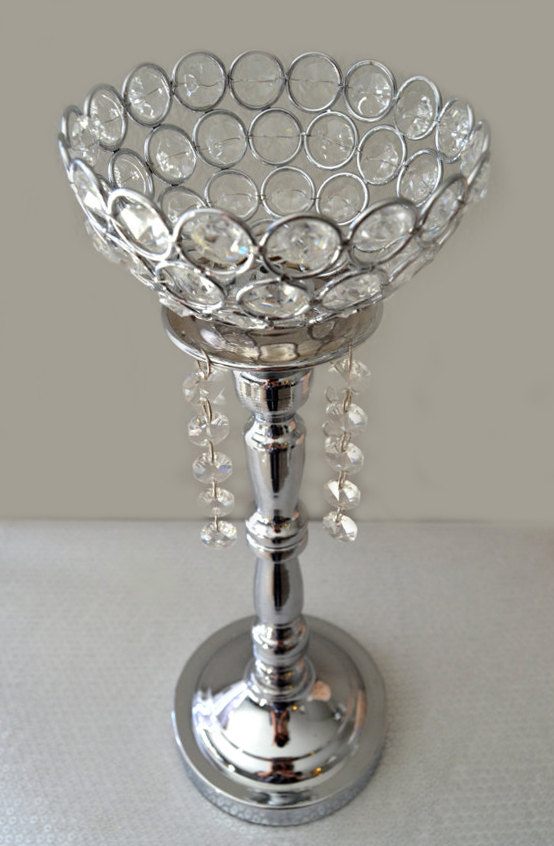 Mariage - Silver Bling Rhinestone Flower Ball Stand OR Candle Holder Wedding Centerpiece with crystal hanging  ornaments