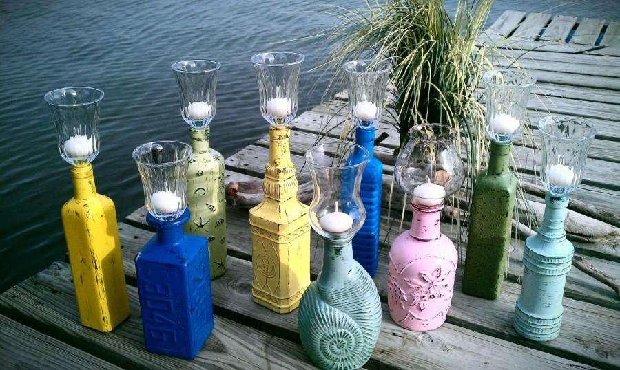Свадьба - S A L E  Candle Holder, Shabby Chic Bottle Candle Holder, Hurricane Lantern, Decorative Glass, Cottage Chic Decor, Can be Made to Order