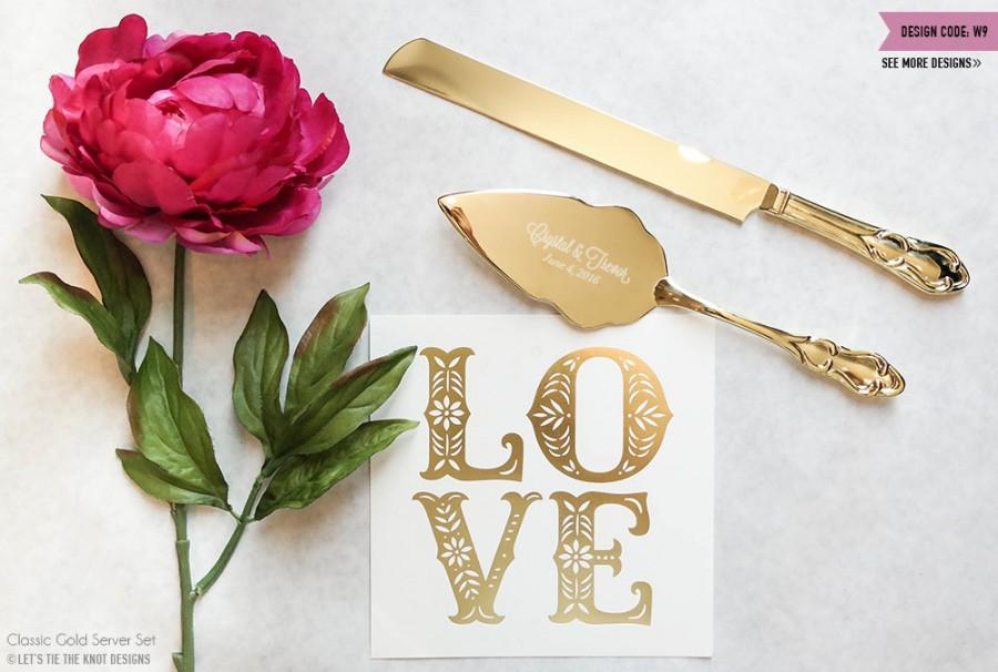 Mariage - Personalized Gold Wedding Cake Knife and Server Set - (2pc) Custom Engraved Classic Gold Cake Knife and Server - Personalized Wedding Gift