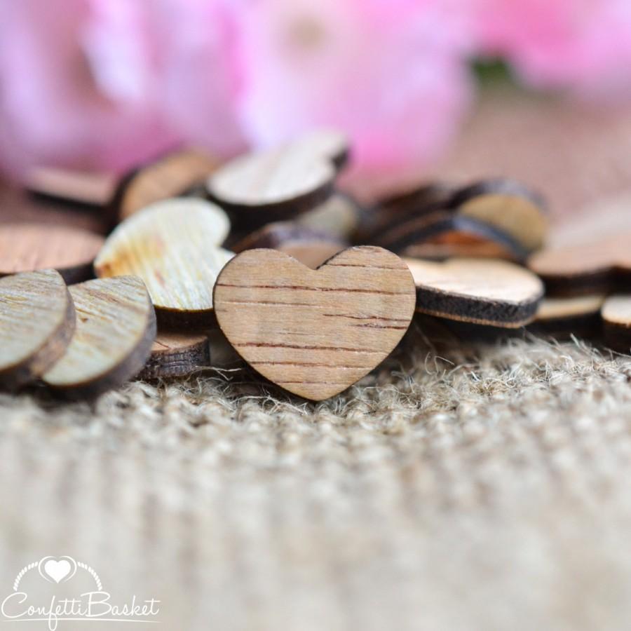 "Свадьба - 100 Wooden Hearts 1/2"" - Rustic Wedding Table Confetti - Wooden Hearts - Wedding Invitations"