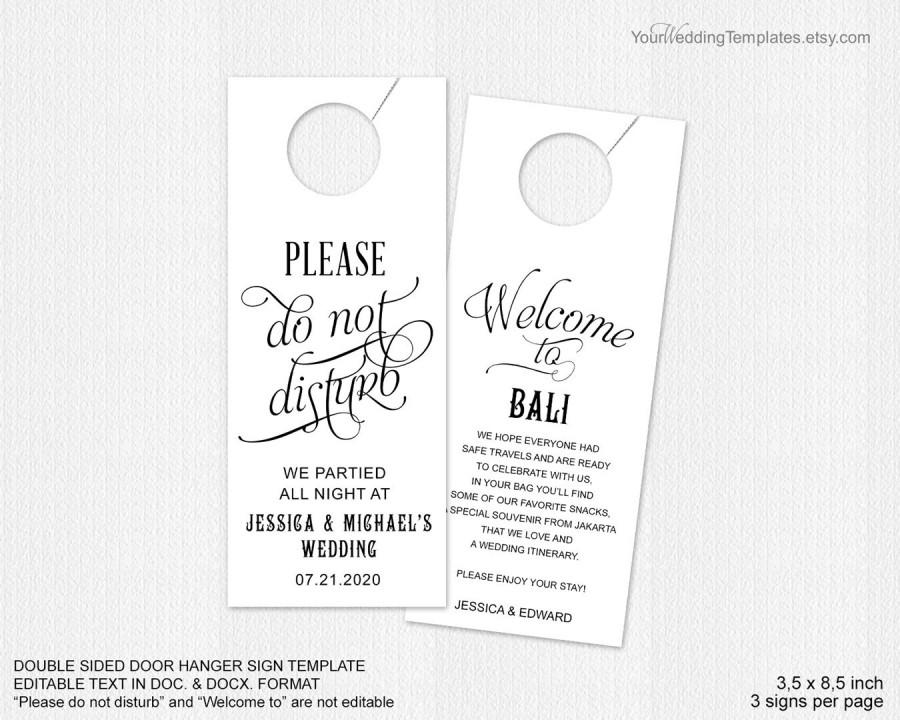 wedding door hanger template. Do Not Disturb Door Hanger Wedding Template O
