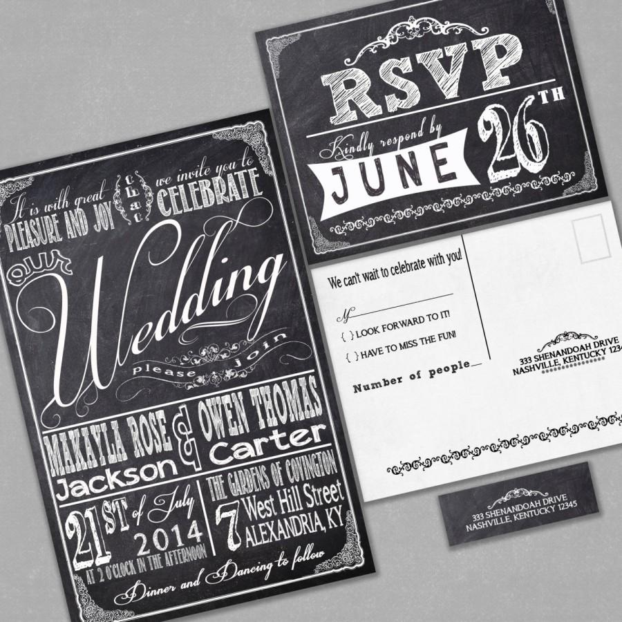 Mariage - Chalkboard Wedding Invitations with RSVP cards and address labels, Retro Typography, Black and White Budget Invites