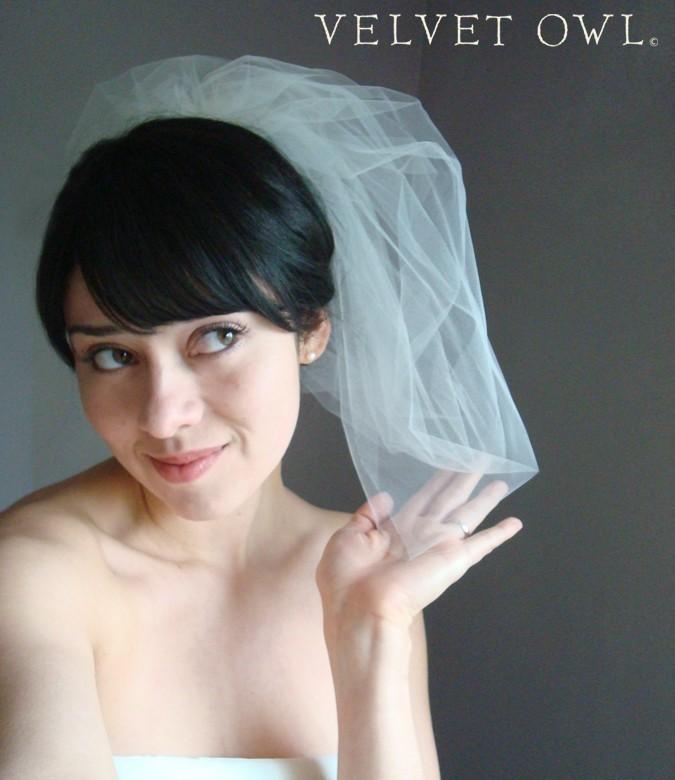 زفاف - Bridal bubble veil White Ivory or Champagne tulle retro bride mod modern bride wedding - MONIQUE