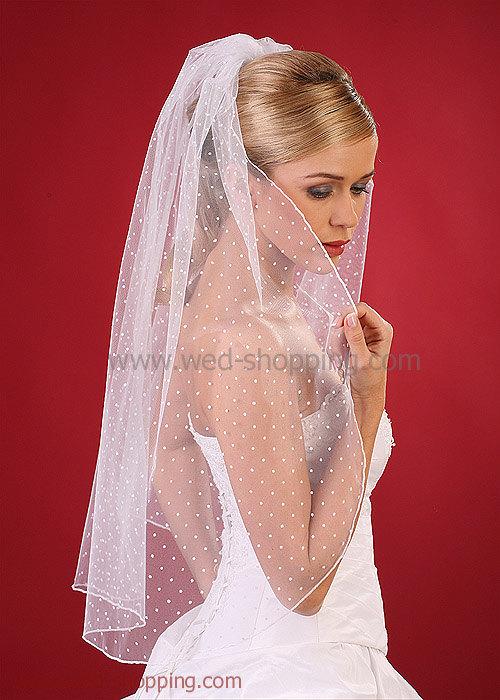 زفاف - Dot tulle veil Polka dot Veils Dotted tulle Bridal Wedding White Ivory W1090A 80cm