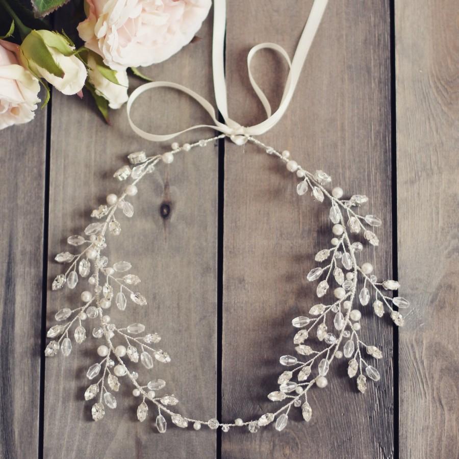 Hochzeit - Bridal headpiece, Swarovski crystal forehead band, wedding hair accessories, boho wedding, crystal hair vine, Grecian halo, bridal crown