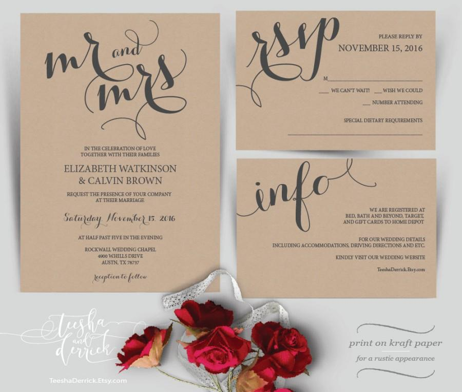 Mr And Mrs Wedding Invitation Instant Download Printable Template