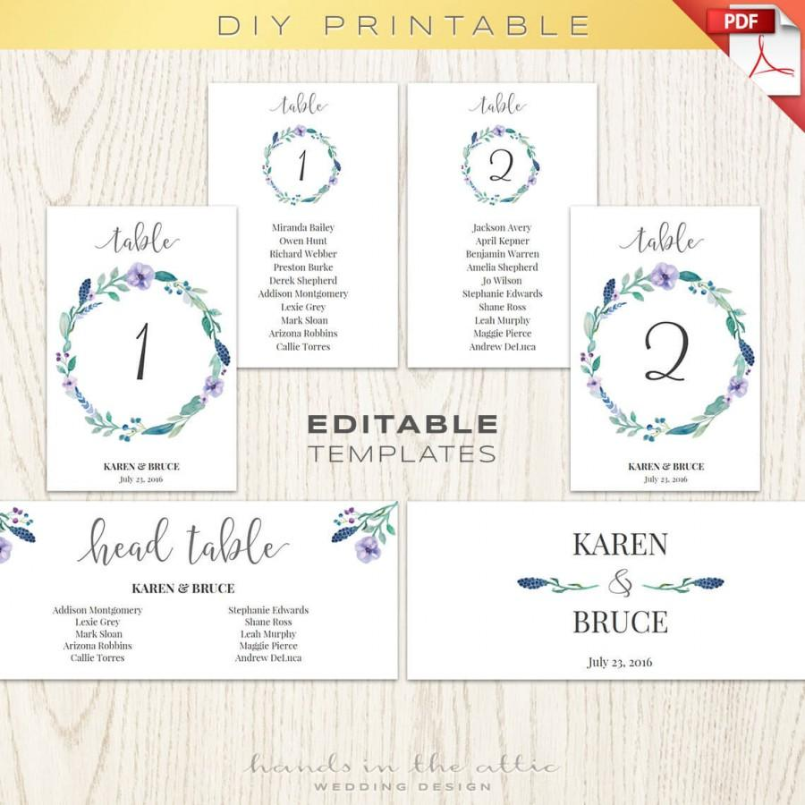 Floral wedding table numbers printable template seating for Table numbers for wedding reception templates