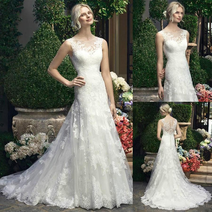 Stunning 2016 sheer lace wedding dresses applique for Crew neck wedding dress