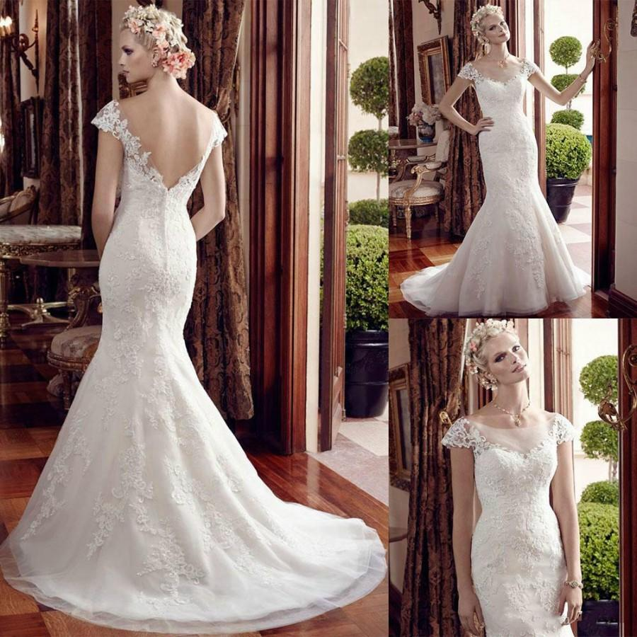 New Arrival Mermaid Wedding Dresses Lace Applique 2016 Capped Scoop Neck Deepv Back Bridal Church Gown Chapel Train Online With 11074piece On: Deep Scoop Neck Wedding Dress At Reisefeber.org