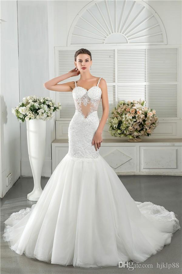 Y Backless Mermaid Wedding Dresses Sequins Lace Beads Lique Spaghetti Straps 2016 Bridal Gown Tulle Chapel Train Online With 122 52 Piece On