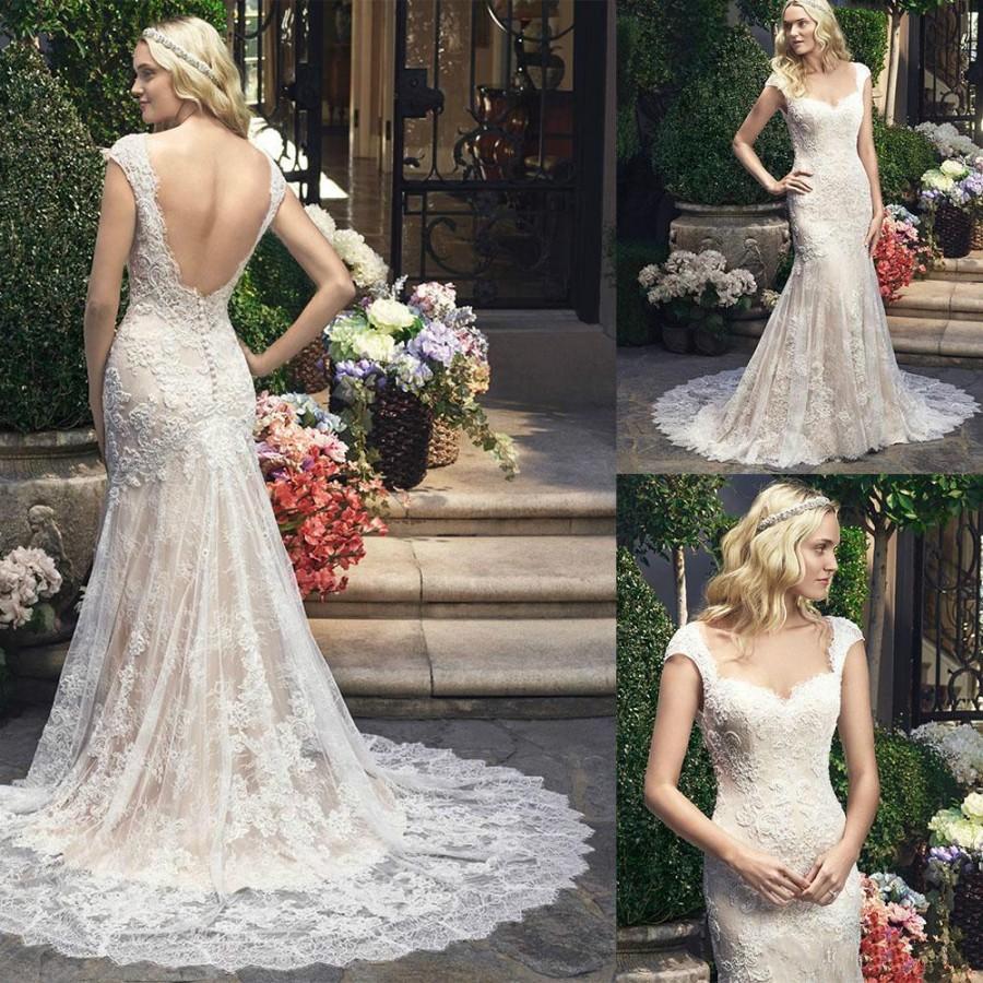 Charming mermaid wedding dresses capped ivory backless for Backless wedding dresses online