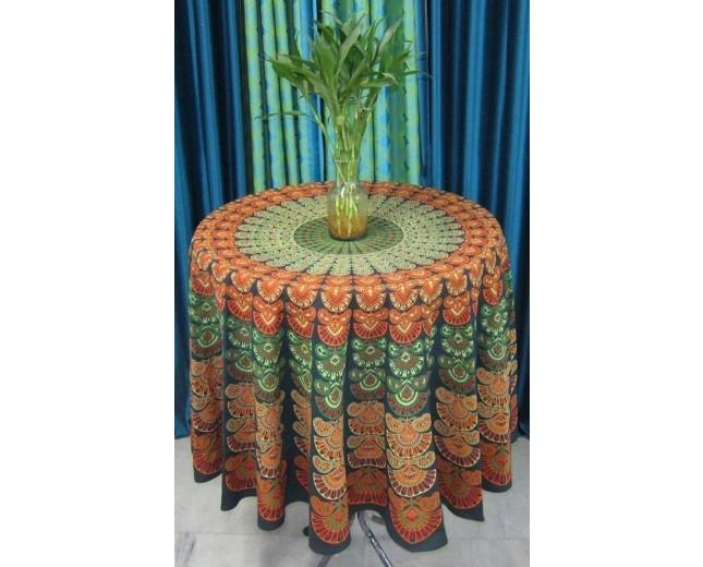 Boda - Green Peacock Round Throw Tapestry