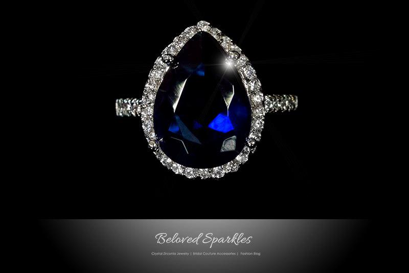 Свадьба - 7.5 carat Sapphire Pear Cut Halo CZ Ring, Vintage Sapphire Blue Cubic Zirconia Engagement Cocktail Statement Ring, Bridal Anniversary Ring
