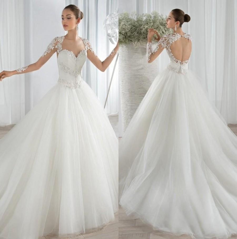 Stunning sheer long sleeves wedding dresses lace appliques for Wedding dress with sheer sleeves
